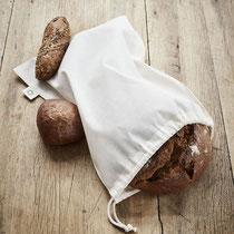 Katoenen zak om brood in te bewaren en te transporteren in 100% naturel bio-katoen, Living Crafts, afmetingen: 36 x 41 cm, prijs: 1,99 €