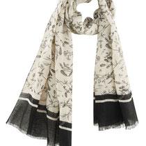Sjaal Hamilton in 100% linnen, naturel/zwart wilde bloemen, Living Crafts, afmetingen: 180 x 70 cm, prijs: 39,99 €