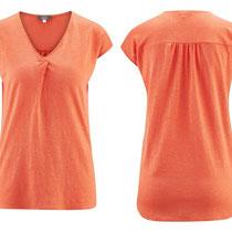 T-shirt Isaline in 70% bio-katoen en 30% hennep jersey, koraalrood, Living Crafts, beschikbaar in de maten XS, S, M en L, prijs: 39,99 €