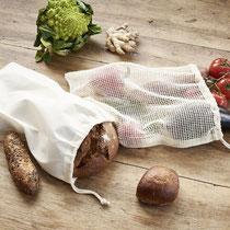 Afvalarm winkelen? Met herbruikbare brood- en groente- en fruitzakken in 100% naturel biokatoen!