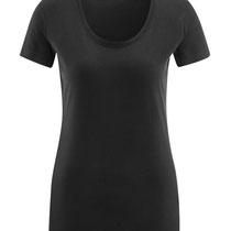 Basis T-shirt met ronde hals in 100% bio-katoen tricot, zwart, Living Crafts, beschikbaar in de maten S, M, L en XL, prijs: 16,99 €