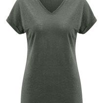 T-shirt Ava in 100% bio-linnen jersey, khaki, Living Crafts, beschikbaar in de maten XS, M en L, prijs: 39,99 €