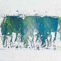 O.T.,     40x31,     Linolschnitt auf Leinwand, 2001