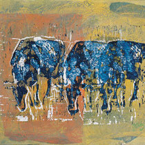 O.T.,     40x31,     Linodruck, Seidenpapier, Acryl auf Leinwand, 2001
