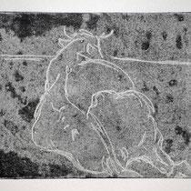 Liegende 2,    20x25,     Monotypie, 2014