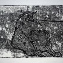 Liegende 1,    20x25,     Monotypie, 2014