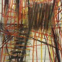 Hinterhof 7,     90x60,     Kohle auf Papier, 2015