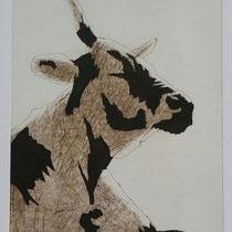 Kuh #1 umbra, 36x28, Farbradierung, 2016
