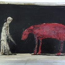 Parzival und Gringolet, Vliesbild auf Metall, 2010, (60 x 80 cm)