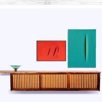 "Apartment Paris, 2018 - Sideboard in oak and walnut by Geoge Nakashima, 1950s. Gio Ponti bowl in bronze and glass for Fontana Arte, 1950s. Lucio Fontana series ""Concetto Spaziale"" 1968."