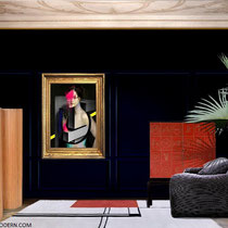 VENEZIA LIDO PRIVATE ROOM SETTING, 2020 - Giuseppe Piovesan oil painting 2015 - Eileen Gray Wendingen rug 1925 - Alvar Aalto paravant Artek 1950 -Otto Schultz leather cabinet 1930 - Vico Magistretti Maralunga sofa for cassina 1973