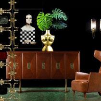 POINT DE VUE, ROOM SETTING, 2020 - Italian customized credenza,1940s - Giuseppe Piovesan painting,2015 -Sieger for Fürstenberg vase, 2015-Hans Agne Jakobsson sconces,1960s-Renzo Zavella armchair-Borsani & Pomodoro bronze panel.