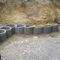 Anlegen der ersten Reihe auf einem 25 cm starken Betonfundament