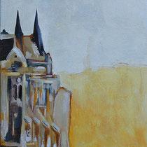 """"""" Le Parlement de Budapest"""" Triptyque - 1ere toile de 30 x 120 cm"""