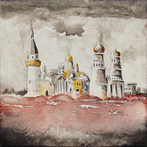 """""""Moscou """" 30 x 30 cms - Acrylique et huile sur chassis toilé - Sans cadre - 290€"""
