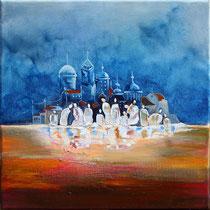 """""""Inondation"""" 40 x 40 cms -Acrylique et huile sur toile - Sans cadre - 390€"""