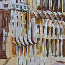 """"""" Le Parlement de Budapest"""" Triptyque - 2eme toile de 30 x 120 cm"""