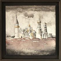 """""""Moscou """" 30 x 30 cms - Acrylique et huile sur chassis toilé - Avec cadre - 331€"""
