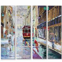 """""""Lisbonne"""" Quadriptyque de 4 toiles de 30 x 120 cms -Acrylique et huile sur toile - 2900€"""