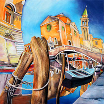 """""""Venise"""" 80 x 80 cms - Acrylique et huile sur toile - VENDU - La reproduction en 70 x 70cm est disponible au prix de 750€"""