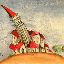 """""""Village"""" - 45 x 37 cms - huile sur toile - 550€"""