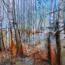 """""""Sous bois"""" 120 x 160 cms - Acrylique et huile sur toile - 2900€"""