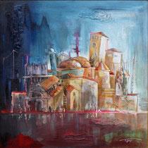 """"""" Inondations """" - 80 x 80 - Acrylique et huile sur toile - 2400€"""