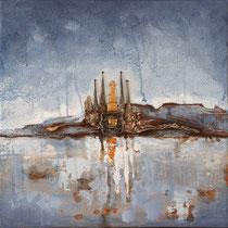 """""""Sagrada"""" - Huile acrylique et inclusions sur toile de 30 x 30cm - 320€"""