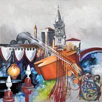 """""""Violocelle à Venise"""" 80 x 80 cms - Acrylique et huile sur toile - 1470€"""