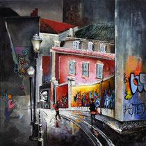 """""""Lisbonne"""" 100 x 100 cms Acrylique et huile sur toile - 2400€"""