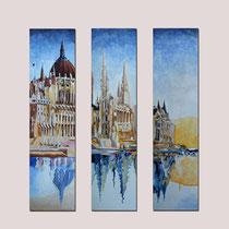 """"""" Le Parlement de Budapest"""" Triptyque - 3 toiles de 30 x 120 cms - 2400€"""