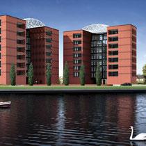 Nieuwbouw van 28 luxe appartementen ontworpen door Mario Botta. Werkzaamheden: bouwkundig tekenwerk.