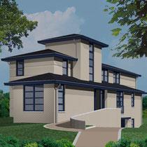 Nieuwbouw woonhuis. Werkzaamheden: tekenwerk en directievoering.