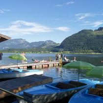 Bootsfahrt und Schwimmen am Walchsee (mit dem Auto 10 Min.)