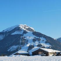 Blick vom Balkon auf den Unterberg (Winter)
