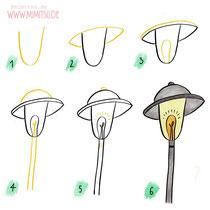 Bullet Journal und Sketchnotes - Doodles - How to draw - Malvorlage - Schritt-für-Schritt-Anleitung - Straßenlaterne