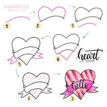 Bullet Journal und Sketchnotes - Doodles - How to draw - Malvorlage - Schritt-für-Schritt-Anleitung - Heart Banner - Herz Banner