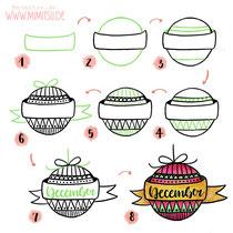 Bullet Journal und Sketchnotes - Doodles - How to draw - Malvorlage - Schritt-für-Schritt-Anleitung - Weihnachtskugel