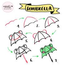 Bullet Journal und Sketchnotes - Doodles - How to draw - Malvorlage - Anleitung - Regenschirm