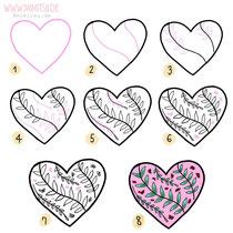 Bullet Journal und Sketchnotes - Doodles - How to draw - Malvorlage - Schritt-für-Schritt-Anleitung - Heart watercolor
