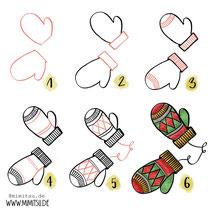 Bullet Journal und Sketchnotes - Doodles - How to draw - Malvorlage - Schritt-für-Schritt-Anleitung - Handschuhe gloves