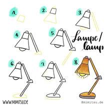 Bullet Journal und Sketchnotes - Doodles - How to draw - Malvorlage - Anleitung - Schreibtischlampe - Lampe