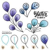 Bullet Journal und Sketchnotes - Doodles - How to draw - Malvorlage - Schritt-für-Schritt-Anleitung - Blätter Zweig Leaves