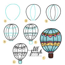 Bullet Journal Sketchnotes - Doodles - How to draw - Malvorlage - Anleitung - Heißluftballon - hot air balloon - drawing - kids