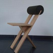 3-poot stoel van beuken planken/schuim rugrol