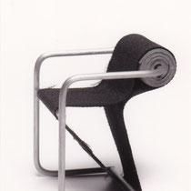 Stoel met stalen frame/gestoffeerde zitting, rugrol