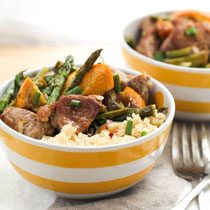 garlic-orange pork tenderloin and asparagus bowls recipe