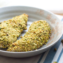 pistachio crusted chicken tenders with bbq honey mustard dipping sauce