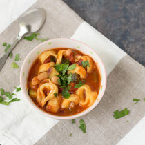 Easy vegetarian tortellini white bean veggie soup recipe