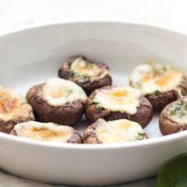 Italian mozzarella-spinach stuffed mushrooms